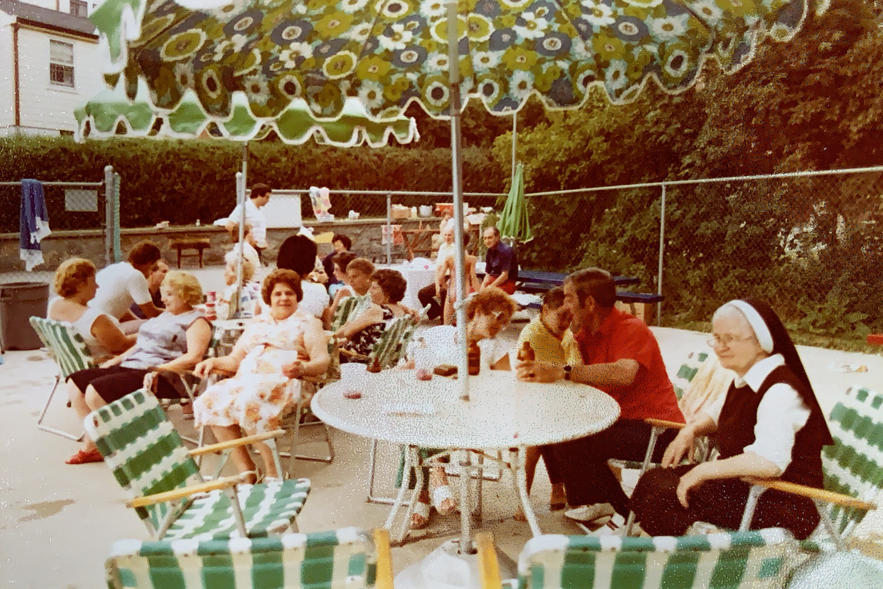 A pool party in the 1970s