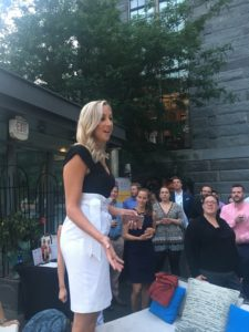 Nicole Solera Murphy greets the crowd at Italian Home Spring Soiree