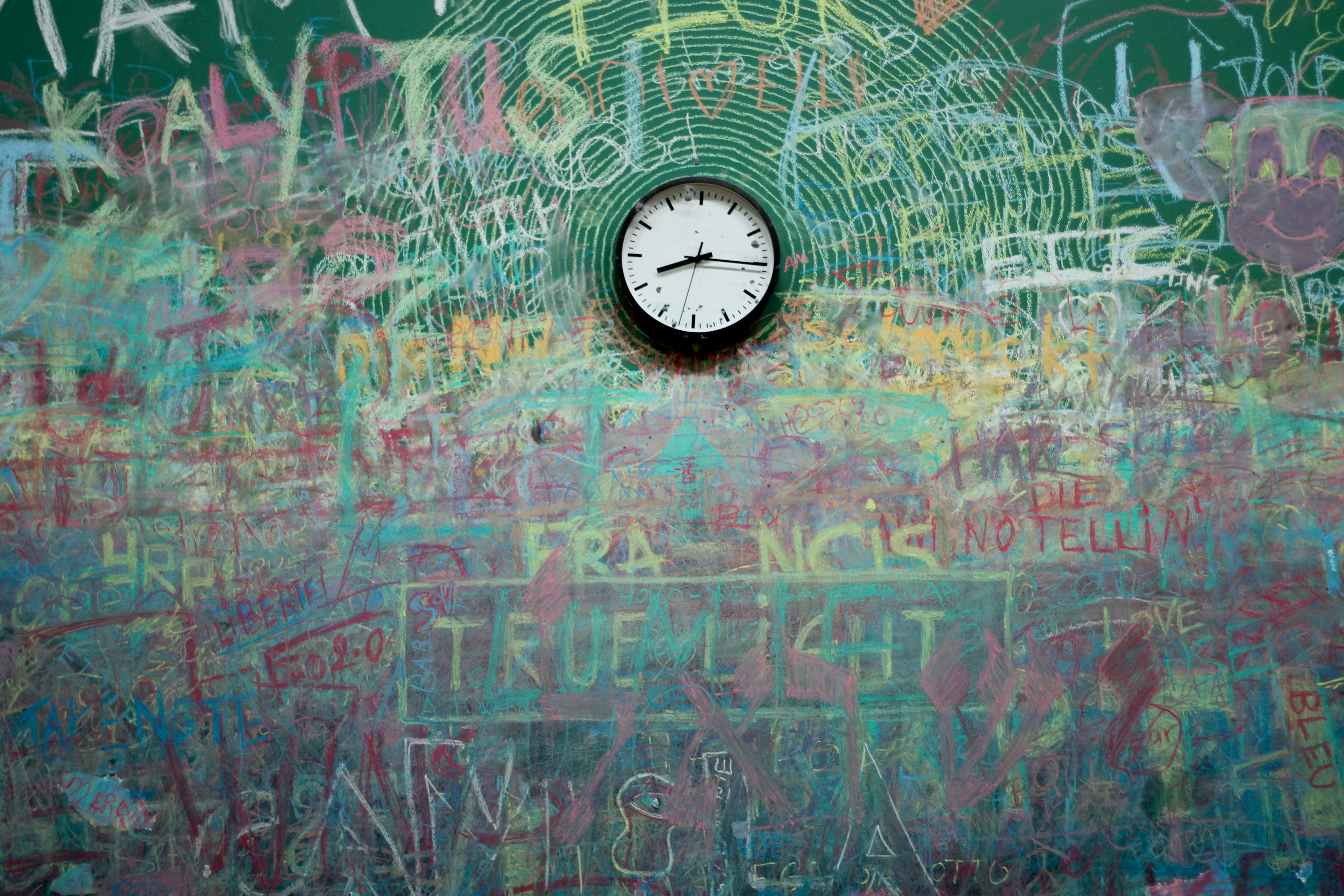 Chalkboard and clock photo
